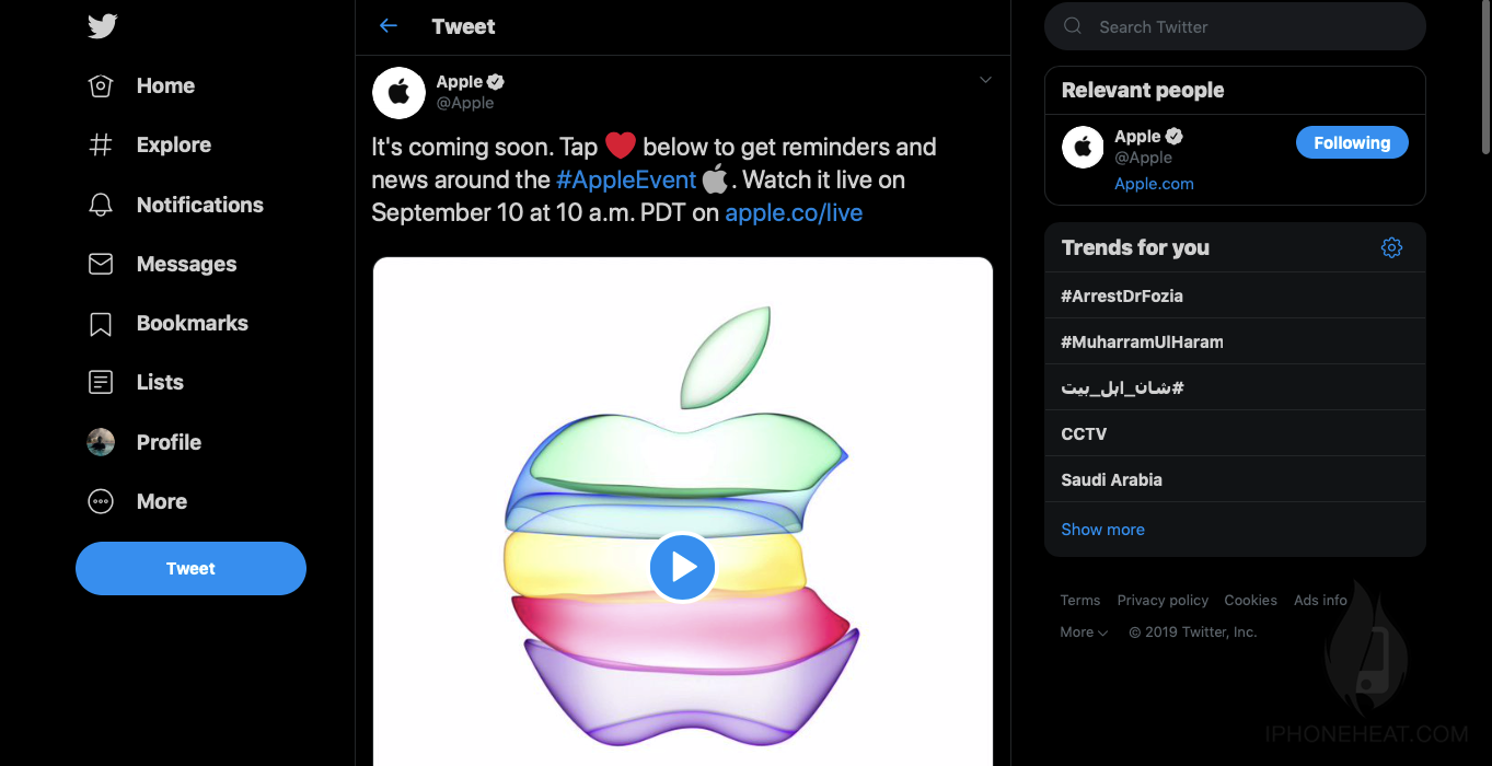 watch apple event on twitter