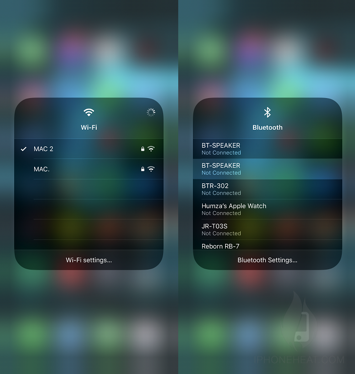 Change Wifi and Bluetooth from Control Center