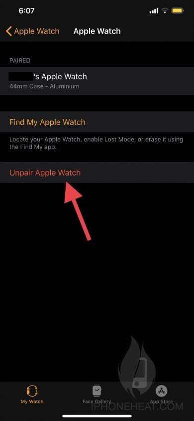 unpair apple watch iphone